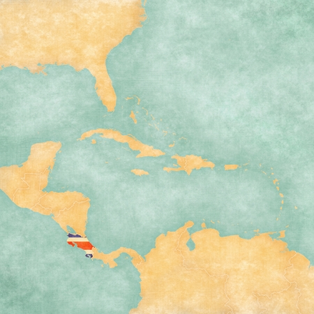 costa rican flag: Costa Rica  Costa Rican flag  on the map of Caribbean and Central America