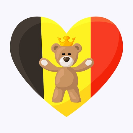 Teddy Bear with crown and heart with flag of Belgium on the background   Vector