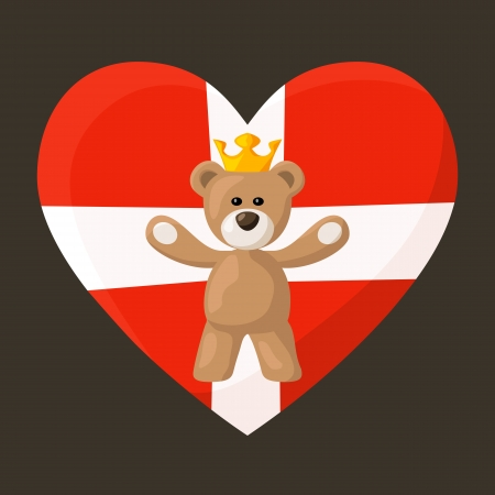 Teddy Bear with crown and heart with flag of Denmark on the background Vector
