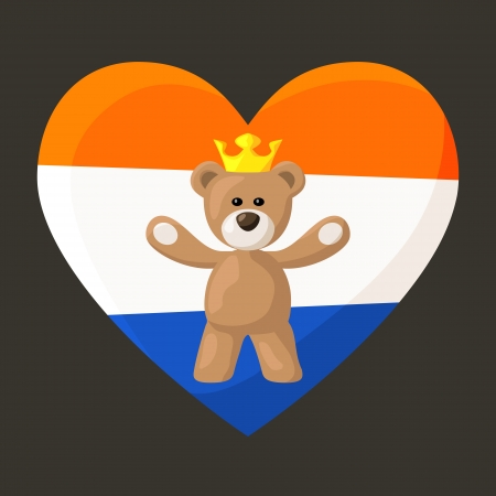 Teddy Bear with crown and heart with flag of Netherlands on the background   Vector