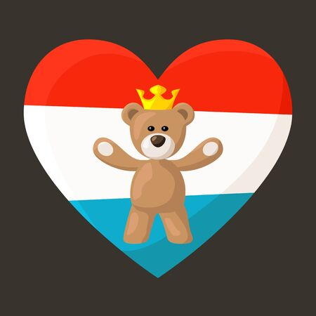 Teddy Bear with crown and heart with flag of Luxembourg on the background   Vector