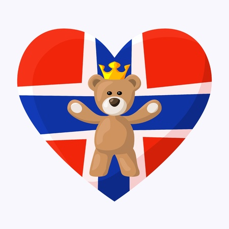 Teddy Bear with crown and heart with flag of Norway on the background   Vector