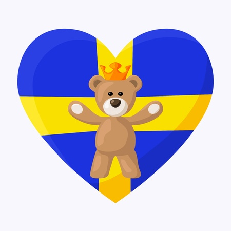 Teddy Bear with crown and heart with flag of Sweden on the background   Vector