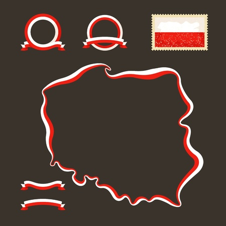 Outline map of Poland  Border is marked with a ribbon in the national colors  The package contains a stamp with flag and frames  The file is made with no transparencies and gradients Stock Vector - 23089537