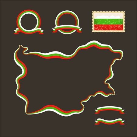 Outline map of Bulgaria  Border is marked with a ribbon in the national colors  The package contains a stamp with flag and frames  The file is made with no transparencies and gradients