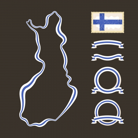 Outline map of Finland  Border is marked with a ribbon in the national colors  The package contains a stamp with flag and frames  The file is made with no transparencies and gradients Stock Vector - 23089589