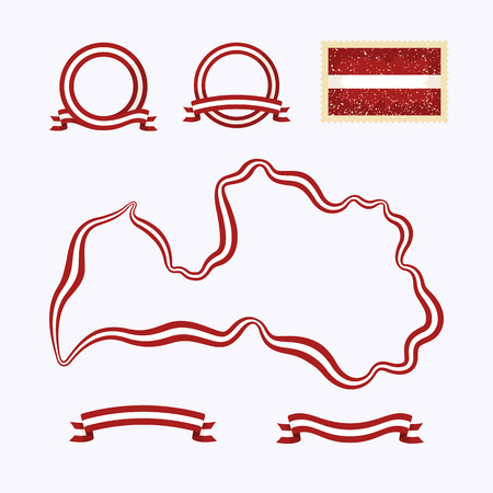 Outline map of Latvia  Border is marked with a ribbon in the national colors  The package contains a stamp with flag and frames  The file is made with no transparencies and gradients Stock Vector - 23089593