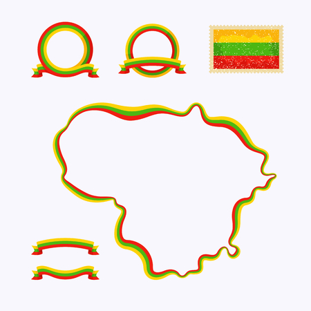 Outline map of Lithuania  Border is marked with a ribbon in the national colors  The package contains a stamp with flag and frames  The file is made with no transparencies and gradients   Ilustração