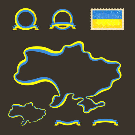 Outline map of Ukraine  Border is marked with a ribbon in the national colors  The package contains a stamp with flag and frames  The file is made with no transparencies and gradients   Illustration