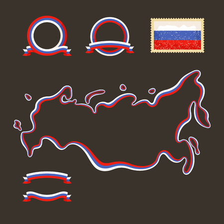 Outline map of Russia  with Crimea   Border is marked with a ribbon in the national colors  The package contains a stamp with flag and frames  The file is made with no transparencies and gradients