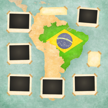 Vintage photo frames on the background with the vintage map of Brazil  On the map is Brazilian flag painted in the country borders