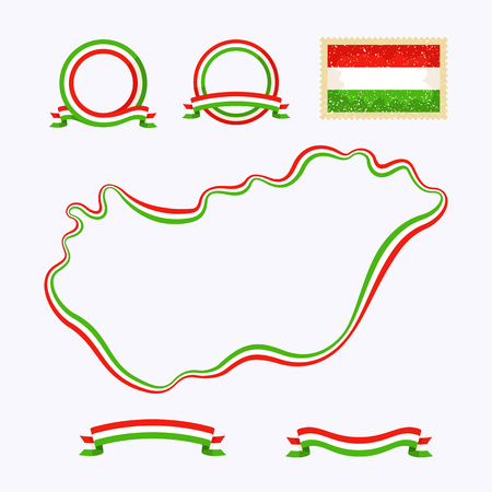 Outline map of Hungary. Border is marked with a ribbon in the national colors. The package contains a stamp with flag and frames. The file is made with no transparencies and gradients.