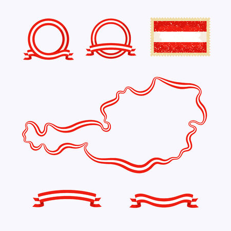 Outline map of Austria. Border is marked with a ribbon in the national colors. The package contains a stamp with flag and frames. The file is made with no transparencies and gradients.