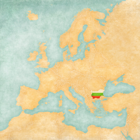 Bulgaria flag on the map of Europe Stock Photo