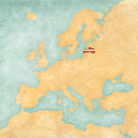 old parchment: Latvian flag on the map of Europe