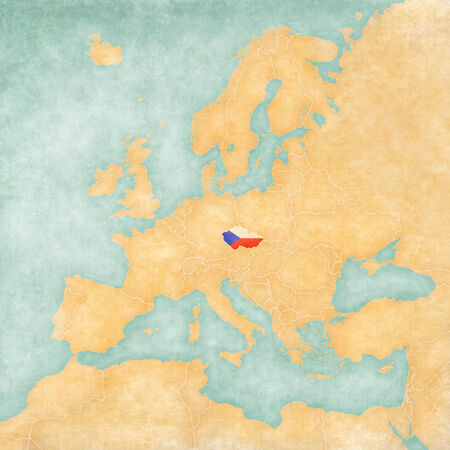 Czech Republic  Czech flag  on the map of Europe  The Map is in vintage summer style and sunny mood  The map has a soft grunge and vintage atmosphere, which acts as watercolor painting on old paper