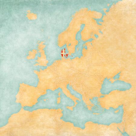 Denmark flag on the map of Europe photo