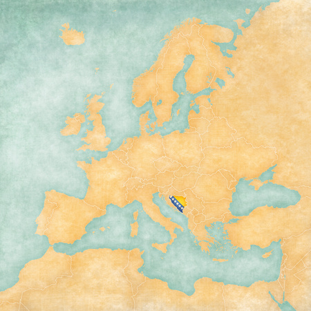 Bosnia and Herzegovina  flag  on the map of Europe  The Map is in vintage summer style and sunny mood  The map has a soft grunge and vintage atmosphere, which acts as watercolor painting on old paper