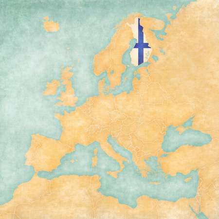 Finland  Finnish flag  on the map of Europe  The Map is in vintage summer style and sunny mood  The map has a soft grunge and vintage atmosphere, which acts as watercolor painting on old paper