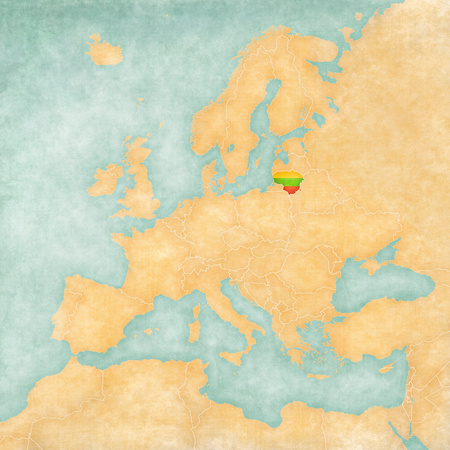 Lithuania  Lithuanian flag  on the map of Europe  The Map is in vintage summer style and sunny mood  The map has a soft grunge and vintage atmosphere, which acts as watercolor painting on old paper   Stock Photo