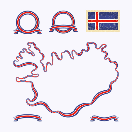 Outline map of Iceland  Border is marked with a ribbon in the national colors  The package contains a stamp with flag and frames  The file is made with no transparencies and gradients