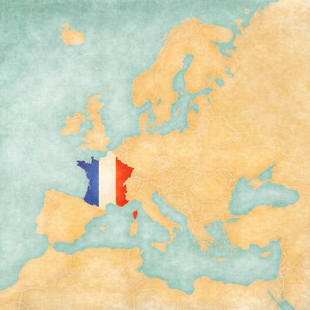 France  French flag  on the map of Europe  The Map is in vintage summer style and sunny mood  The map has a soft grunge and vintage atmosphere, which acts as watercolor painting on old paper   Stock Photo