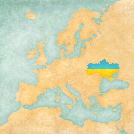 ukrainian flag: Ukraine  Ukrainian flag  on the map of Europe  The Map is in vintage summer style and sunny mood  The map has a soft grunge and vintage atmosphere, which acts as watercolor painting on old paper