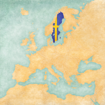 sverige: Sweden  Swedish flag  on the map of Europe  The Map is in vintage summer style and sunny mood  The map has a soft grunge and vintage atmosphere, which acts as watercolor painting on old paper