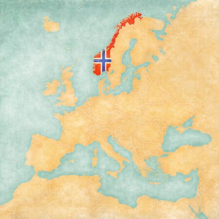 Norway  Norwegian flag  on the map of Europe  The Map is in vintage summer style and sunny mood  The map has a soft grunge and vintage atmosphere, which acts as watercolor painting on old paper   photo
