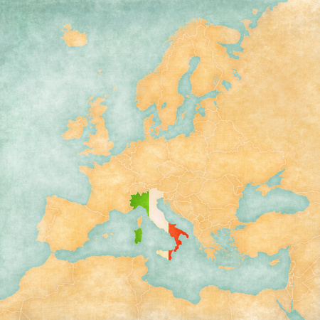 Italy  Italian flag  on the map of Europe  The Map is in vintage summer style and sunny mood  The map has a soft grunge and vintage atmosphere, which acts as watercolor painting on old paper