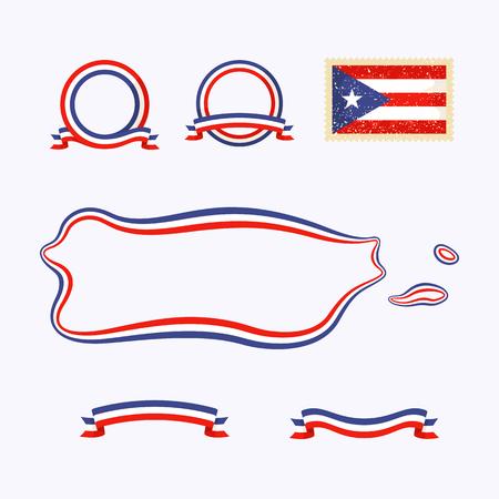 푸에르토 리코의 개요지도. 테두리는 국가 색으로 리본으로 표시되어 있습니다. 패키지에는 깃발과 프레임이있는 스탬프가 들어 있습니다. 파일은 투 일러스트