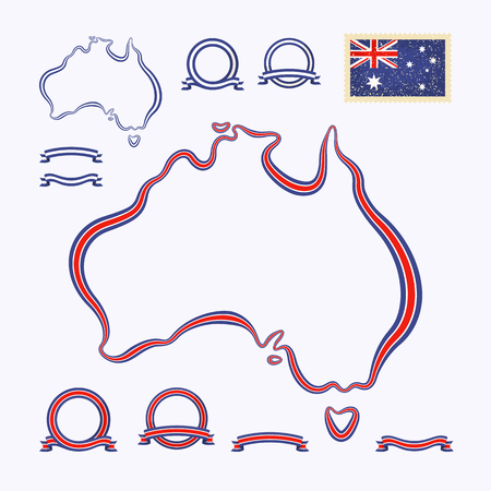 Outline map of Australia  Border is marked with a ribbon in the national colors  Vector