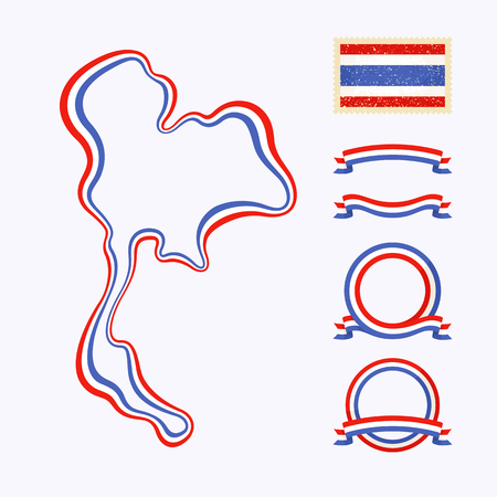 thailand flag: Outline map of Thailand  Border is marked with a ribbon in the national colors