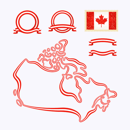 Outline map of Canada  Border is marked with a ribbon in the national colors
