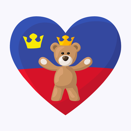 Teddy Bear with crown and heart with flag of Liechtenstein on the background    Illustration