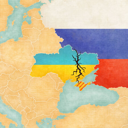 gab: Vintage map of Ukraine with black crack  Illustration related crisis and conflict in Ukraine   Stock Photo