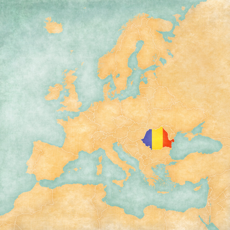 rumanian: Romania  Romanian flag  on the map of Europe  The Map is in vintage summer style and sunny mood  The map has a soft grunge and vintage atmosphere, which acts as watercolor painting on old paper   Stock Photo