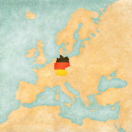 Germany  German flag  on the map of Europe  The Map is in vintage summer style and sunny mood  The map has a soft grunge and vintage atmosphere, which acts as watercolor painting on old paper