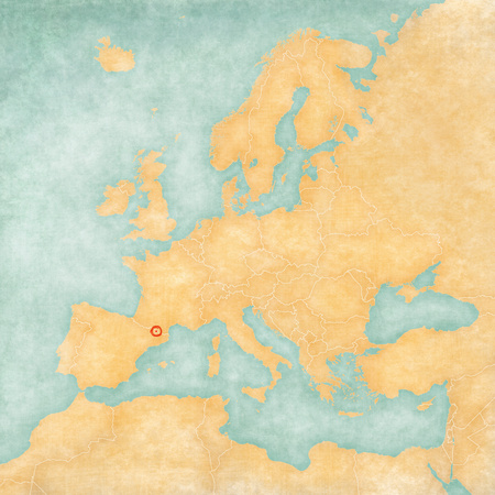 Andorra on the map of Europe. The Map is in vintage summer style and sunny mood