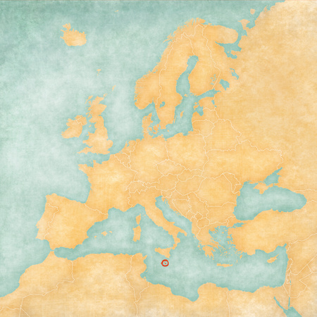 Malta on the map of Europe. The Map is in vintage summer style and sunny mood