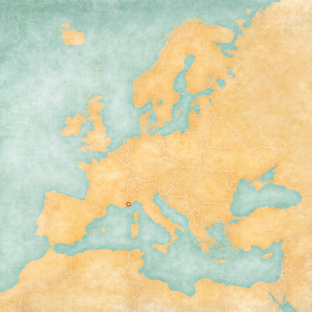 Monaco on the map of Europe