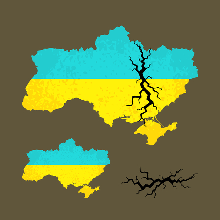 Outline map of Ukraine with black crack. Illustration related crisis and conflict in Ukraine.