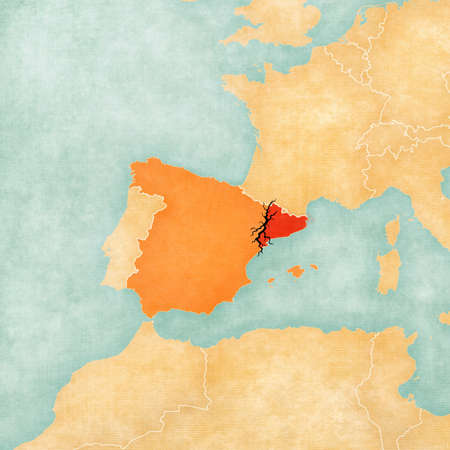 rip off: Map of Spain and Catalonia with black crack. Illustration for a referendum on independence of Catalonia