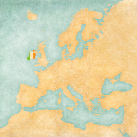 irish sea: Ireland (Irish flag) on the map of Europe. The Map is in vintage summer style and sunny mood. The map has a soft grunge and vintage atmosphere, which acts as watercolor painting on old paper.