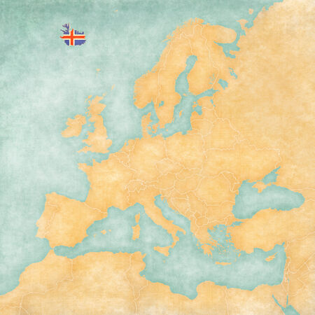 Iceland (Icelandic flag) on the map of Europe. The Map is in vintage summer style and sunny mood. The map has a soft grunge and vintage atmosphere, which acts as watercolor painting on old paper.