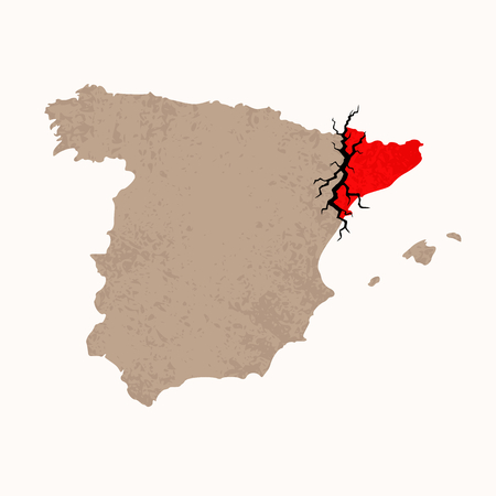 rip off: Outline map of Spain and Catalonia with black crack. Illustration for a referendum on Catalan independence.