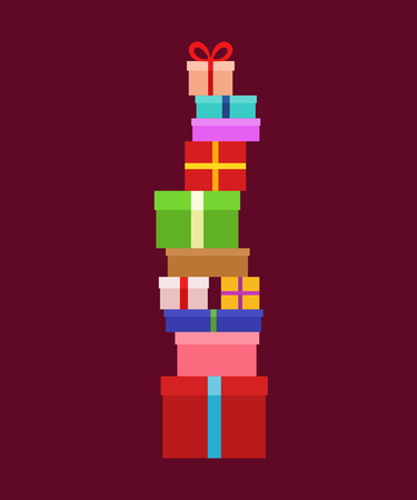 Stack of Christmas Boxes for gifts. Flat design. Vector