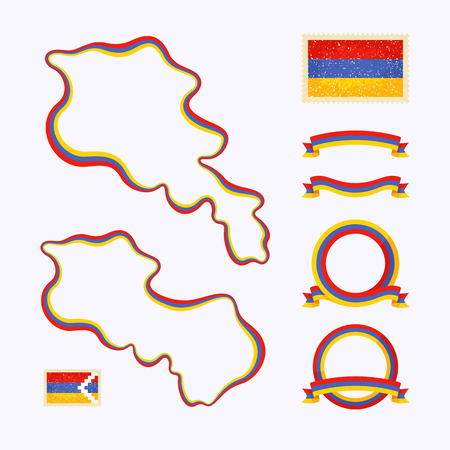 Outline map of Armenia. Border is marked with ribbon in national colors. The package contains frames in national colors and stamp with flag. Vector
