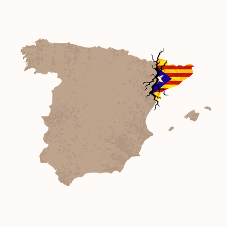 Outline map of Spain and Catalonia with black crack. Illustration for a referendum on Catalan independence.