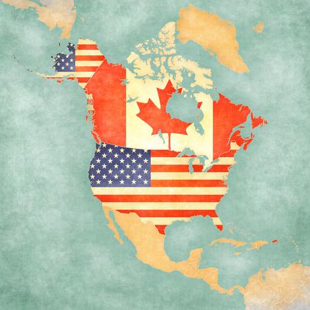 banderas america: EE.UU. y Canadá en el esquema del mapa de América del Norte. El mapa está en el estilo vintage y el estado de ánimo de verano soleado. El mapa tiene un grunge suave y un ambiente de época, que actúa como la pintura acuarela sobre papel viejo. Foto de archivo